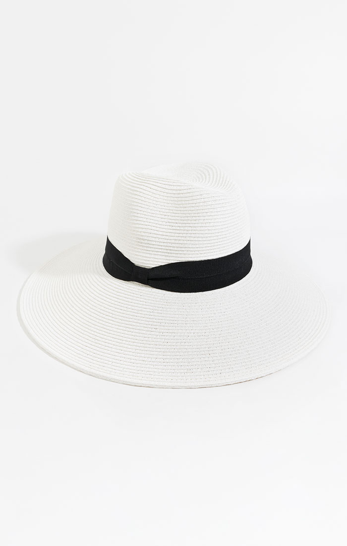 Wide brimmed straw hat, white/black