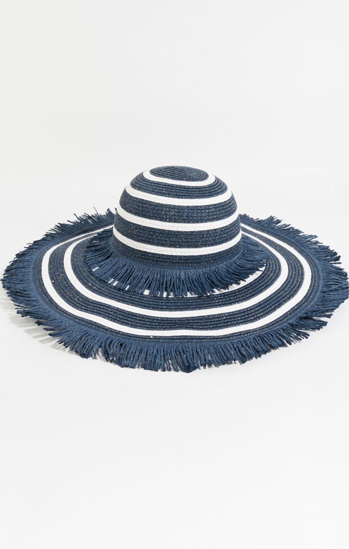 Navy and white wide brim straw hat