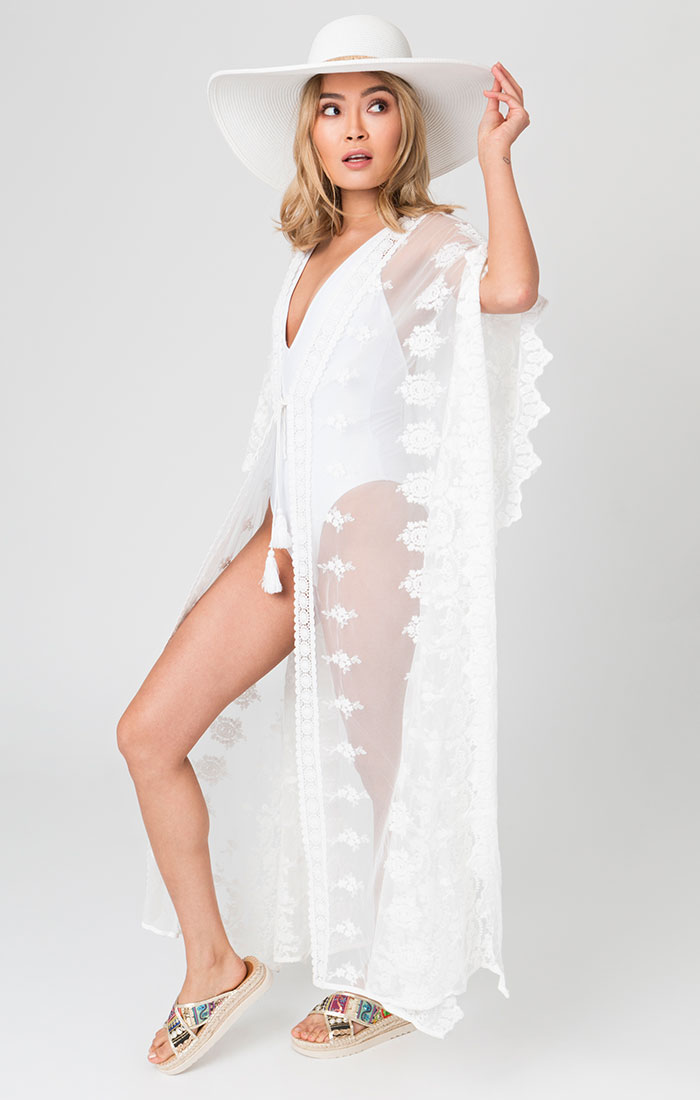 White maxi beach cover up