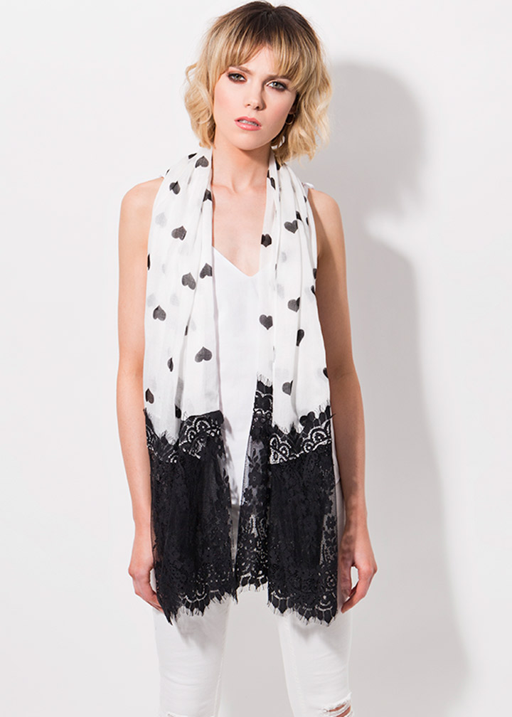Aldora Scarf Black/White-0