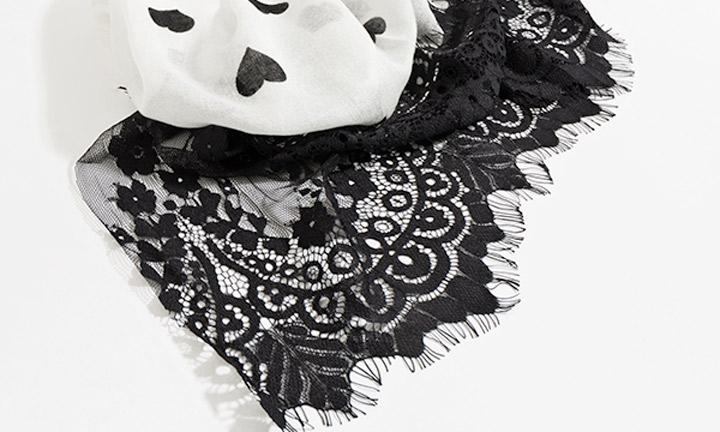 Aldora Scarf Black/White-8502