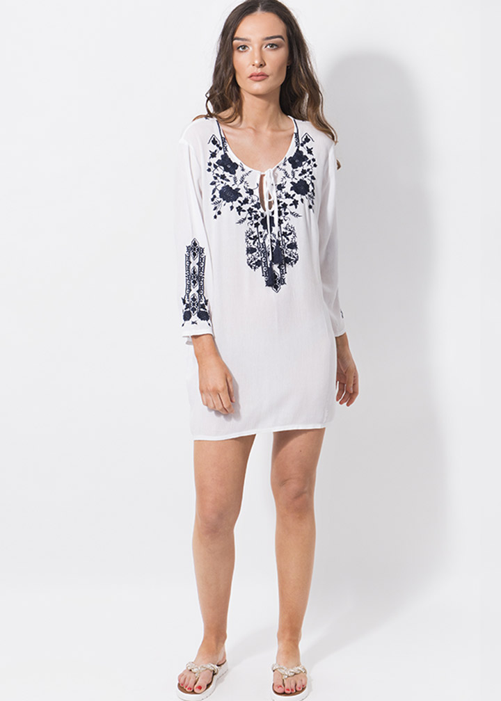 Hermosa Tunic White/Navy-8011