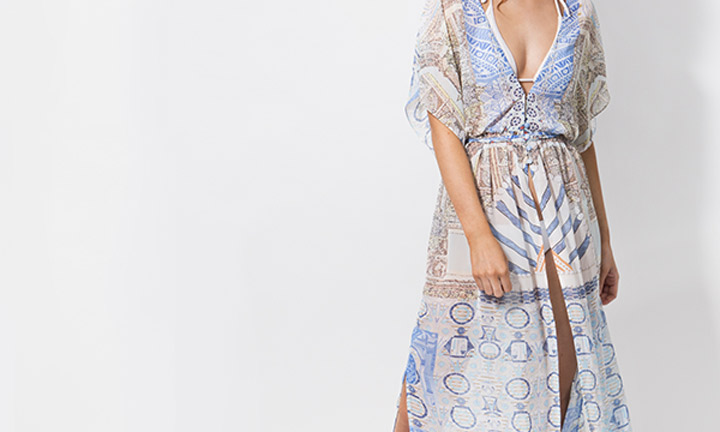 Sheer blue beach maxi dress