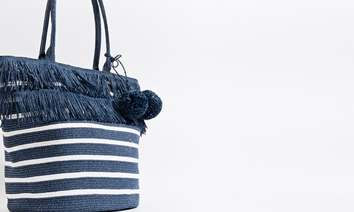 Navy and white straw bag