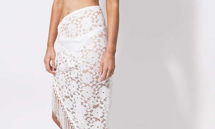White embroidered, tassel sarong
