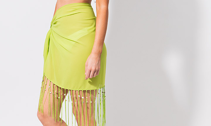 Mini sarong with tassels, green