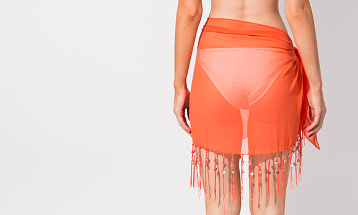 Mini sarong with tassels, orange