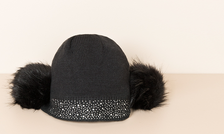 Black soft warm beanie style hat with diamante embellished beanie hat with large faux fur soft pom-poms