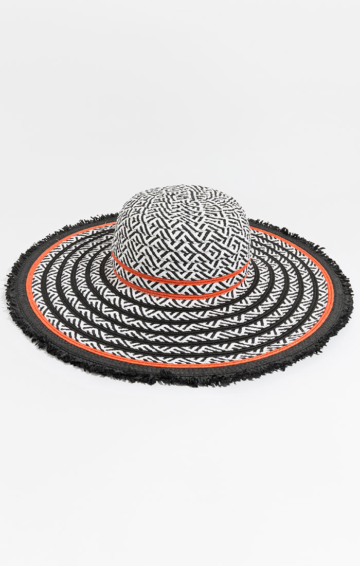 Black, white and orange wide brim hat