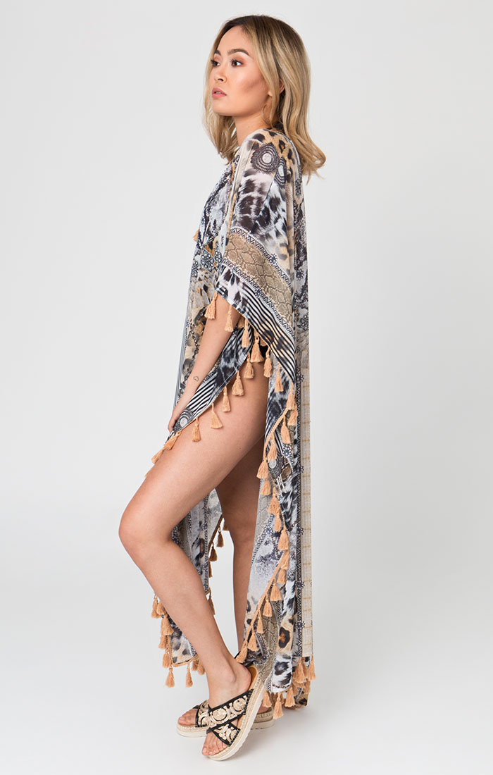 Maxi length beach cover up animal print