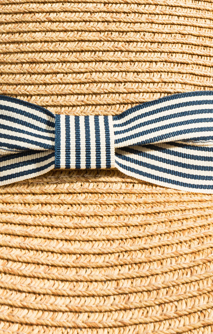 Straw boater hat with ribbon