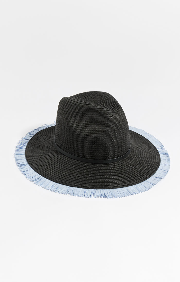 Black straw hat, blue fringe trim