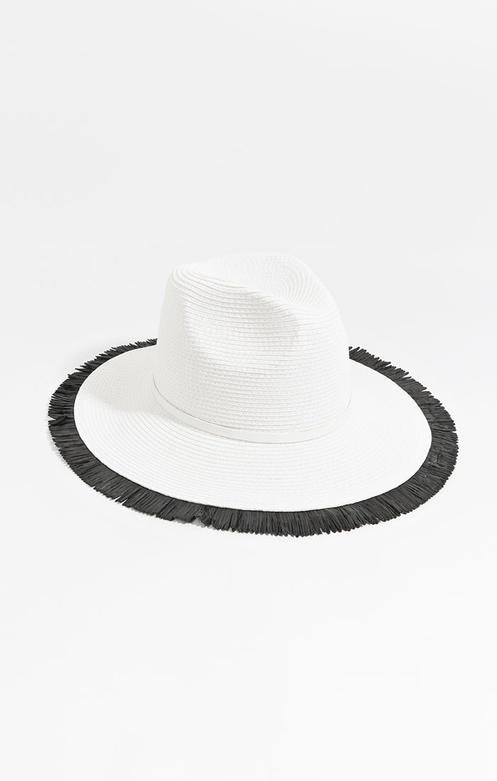 White straw hat, black fringe trim