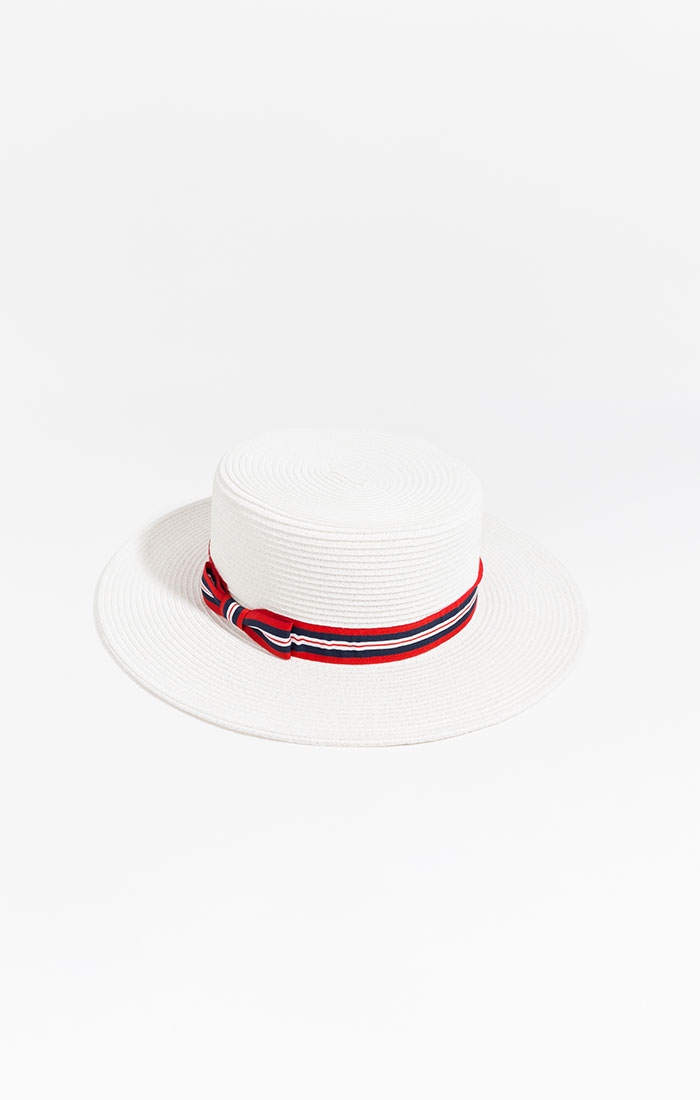 White boater hat with ribbon