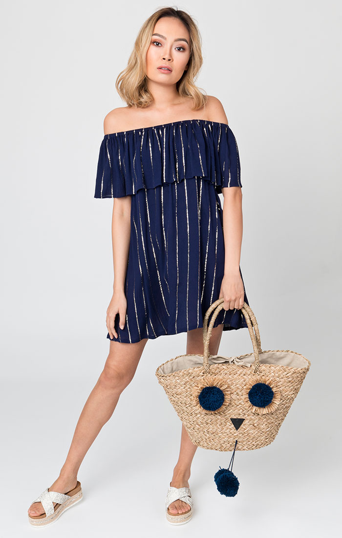 Large navy straw beach bag