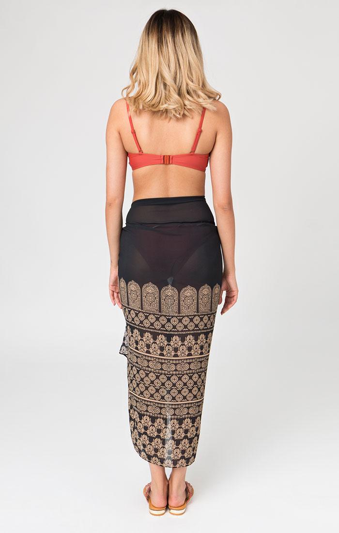 Chiffon Style printed sarong black