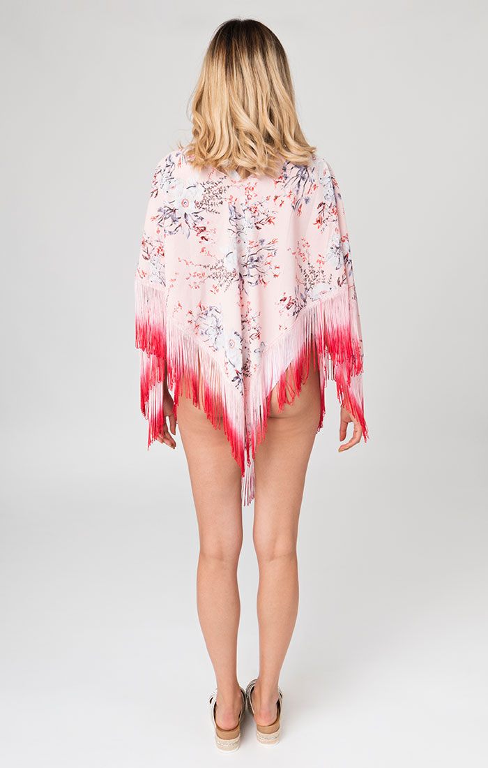 Floral printed poncho style cover ups