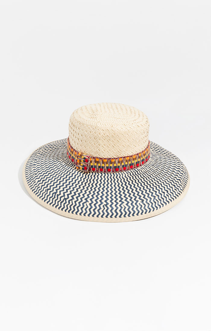 Paper straw hat with multi coloured band