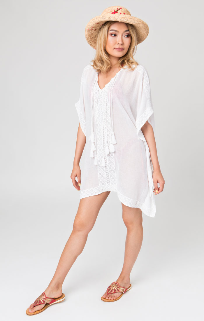 White Tassel beach cover up