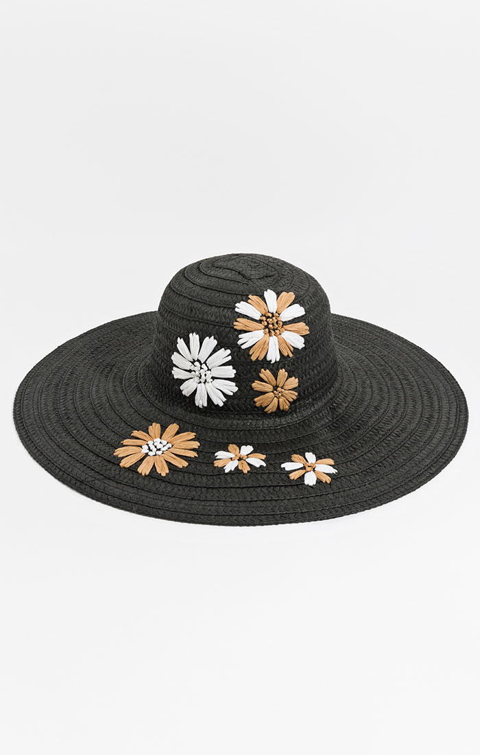 Black straw hat, floral embroidery