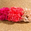 Straw hat with pompoms