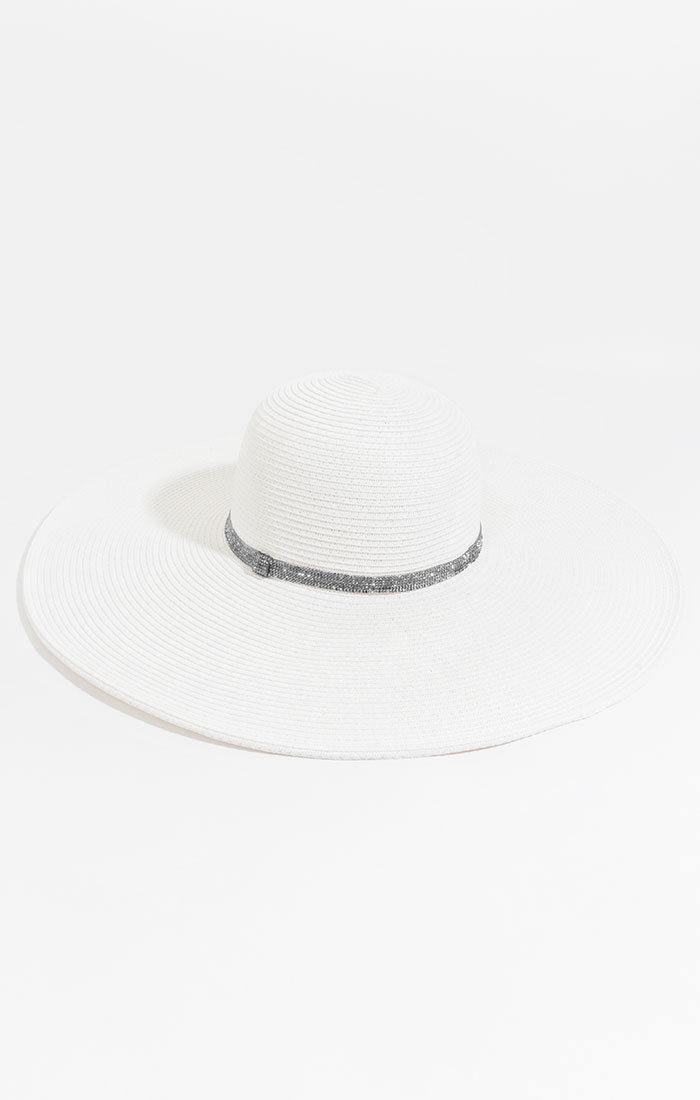 Wide brimmed hat with diamante band, white