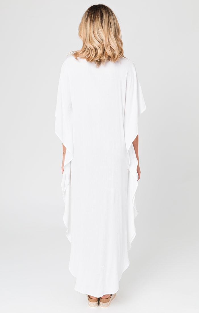 White maxi dress, honeymoon dress