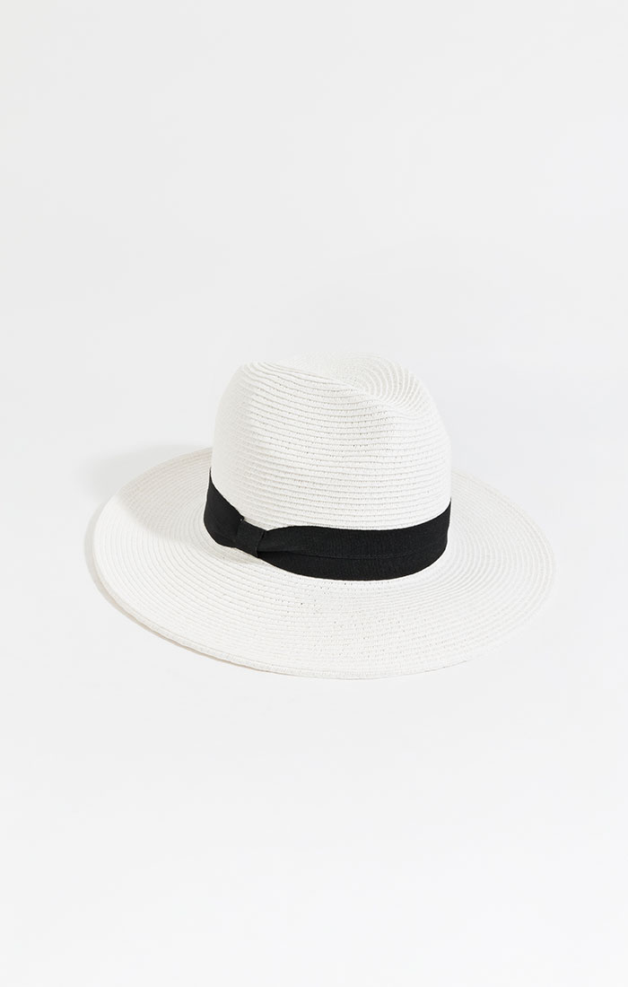 Classic straw fedora, white with black