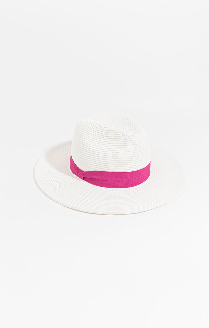 Classic straw fedora, white with pink