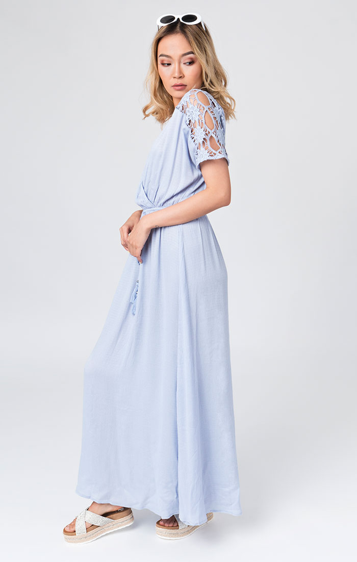 blue beach maxi cover up dress with tie waist