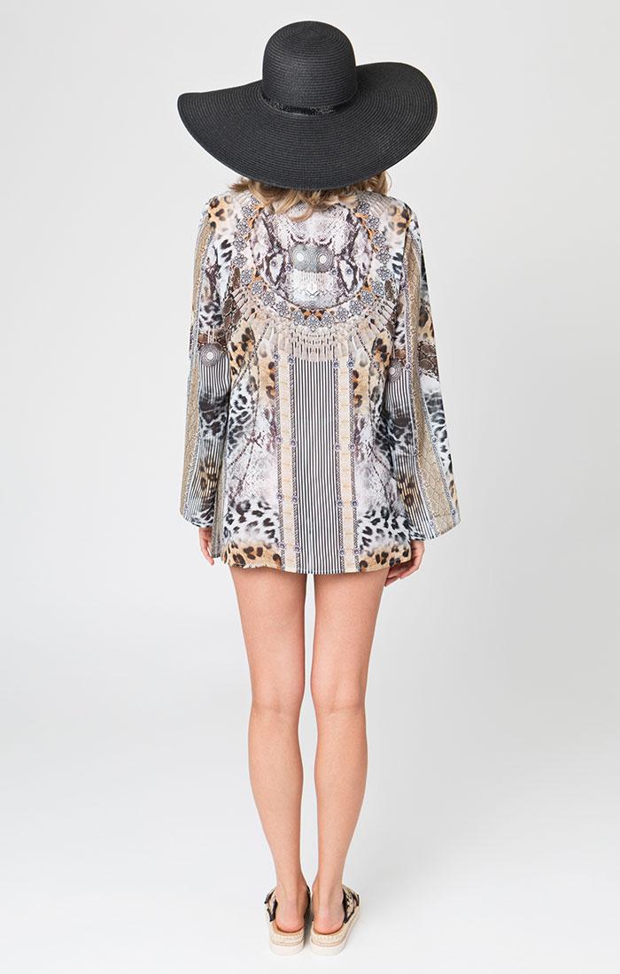 Animal print beach tunic dress
