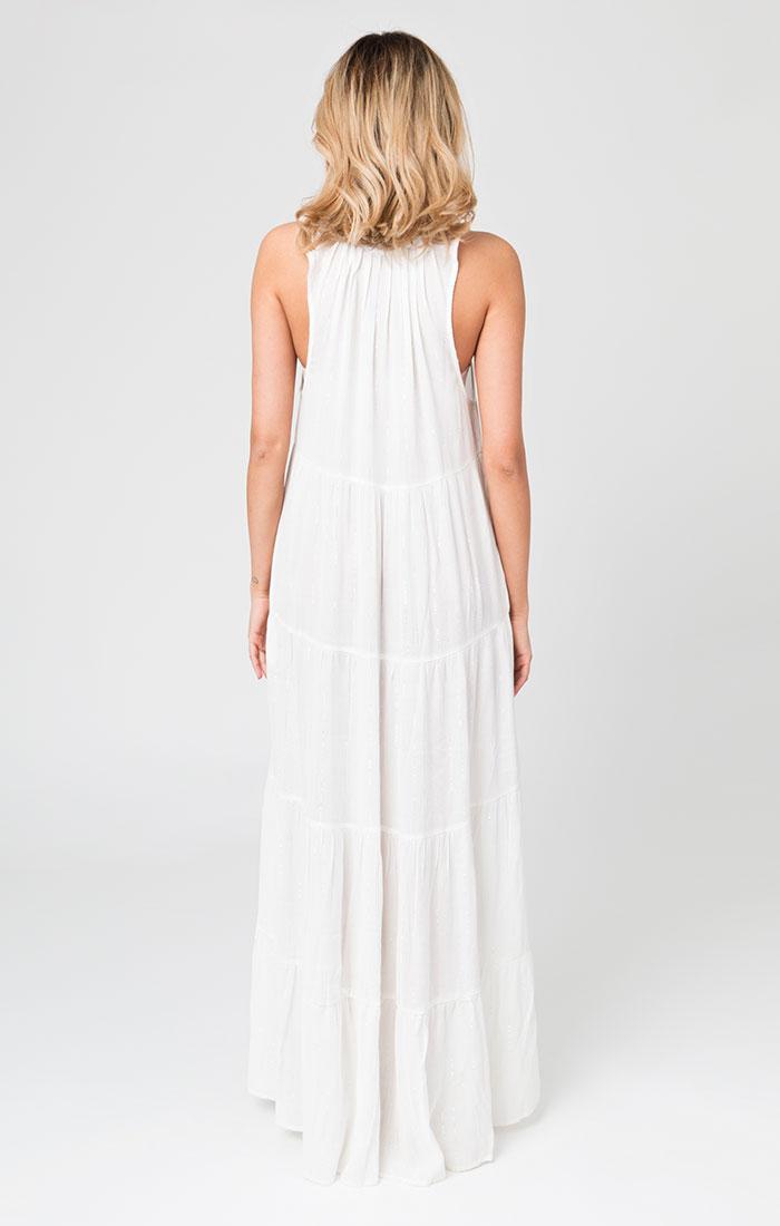 White and silver maxi beach dress