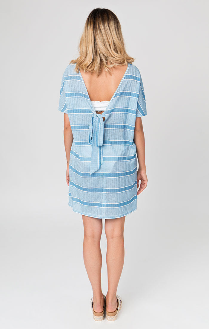 blue striped short beach cover ups