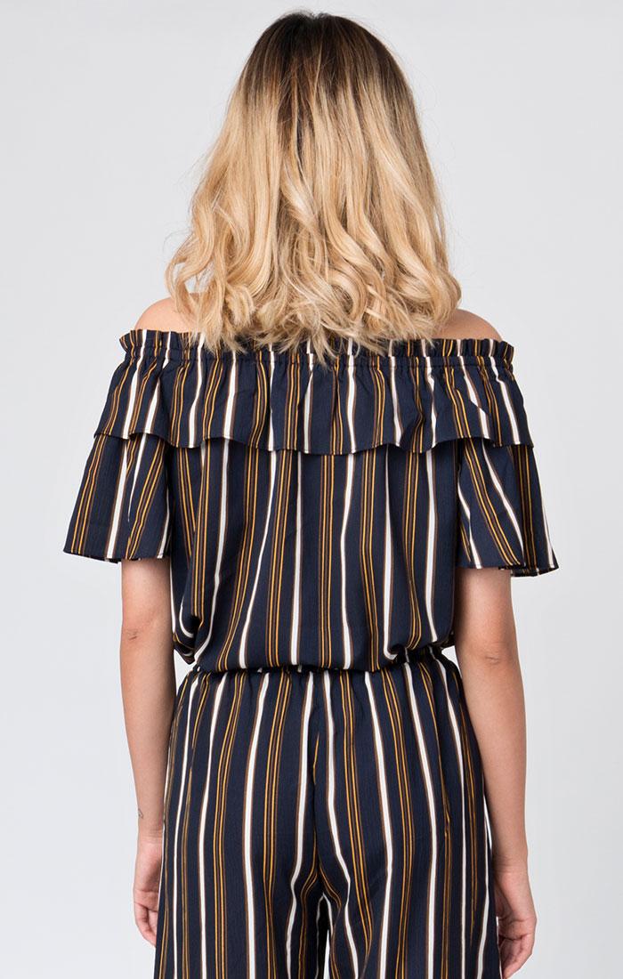 Navy striped bardot top