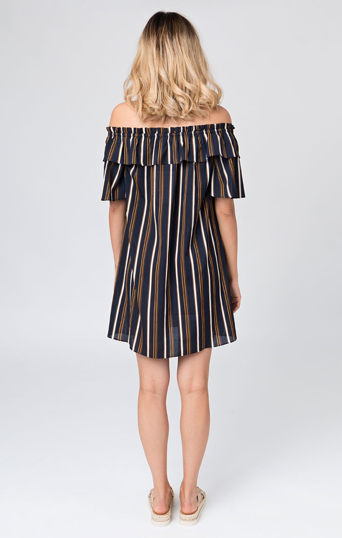 Navy striped bardot style beach dress