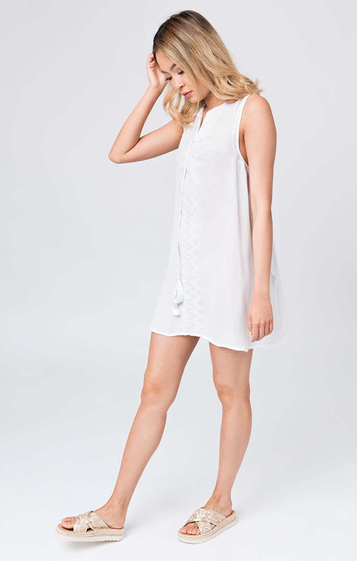 White short beach cover up style dress