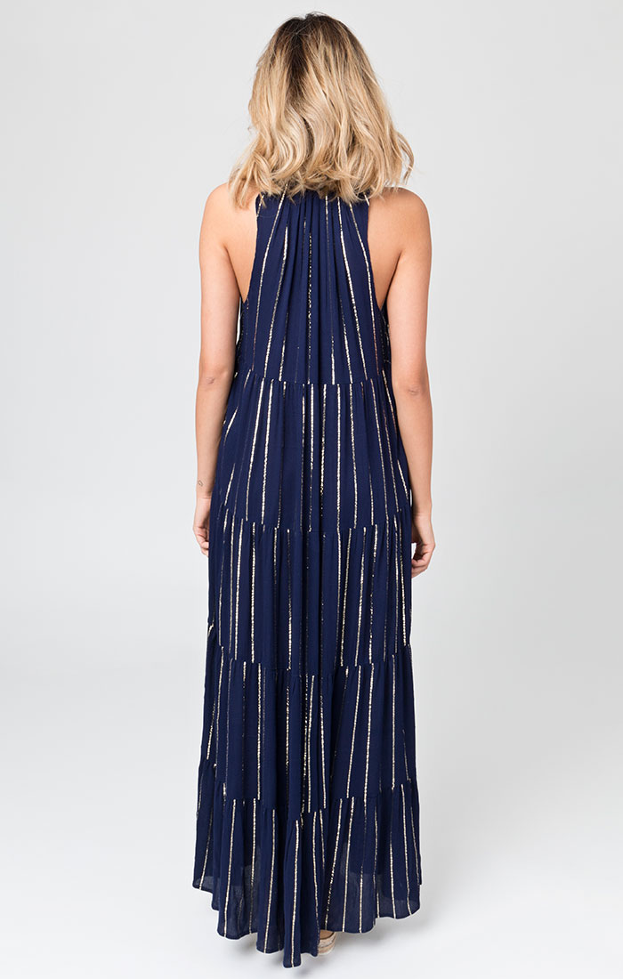 Navy and silver striped maxi dress