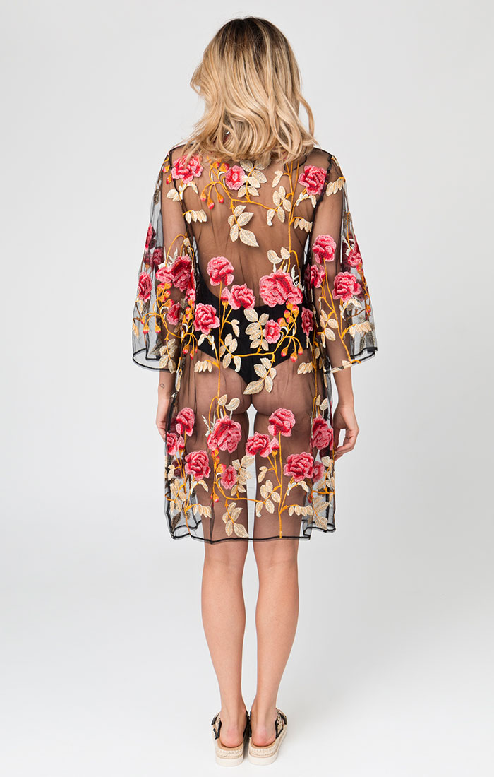 Sheer floral kimono style cover up