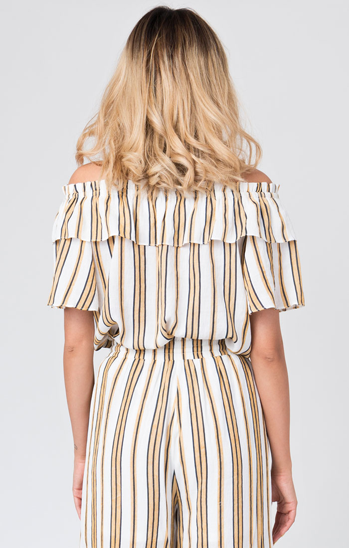 Yellow and white striped bardot top