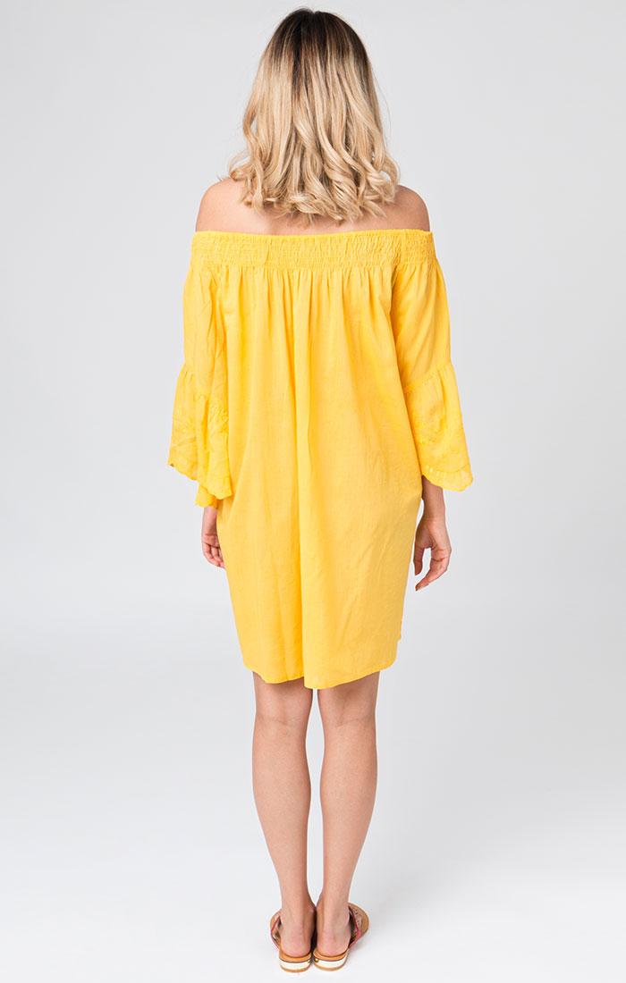 Yellow bardot style beach dress
