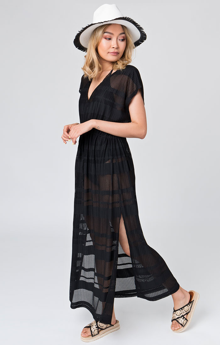 Black sheer maxi beach dress
