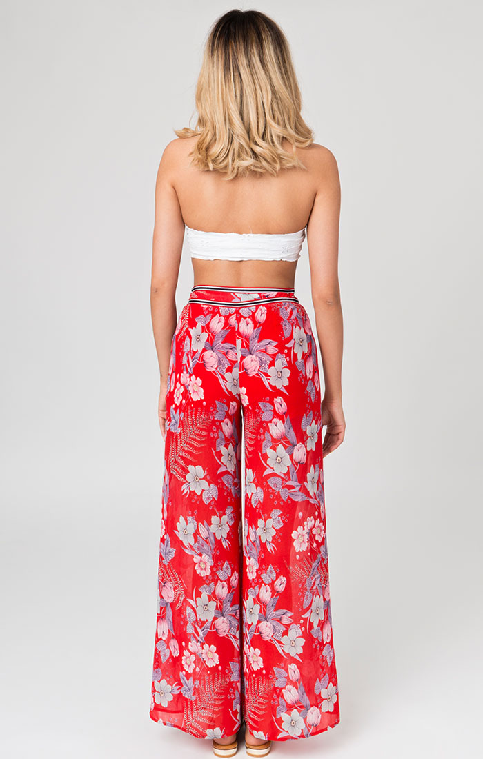 Red floral summer trousers