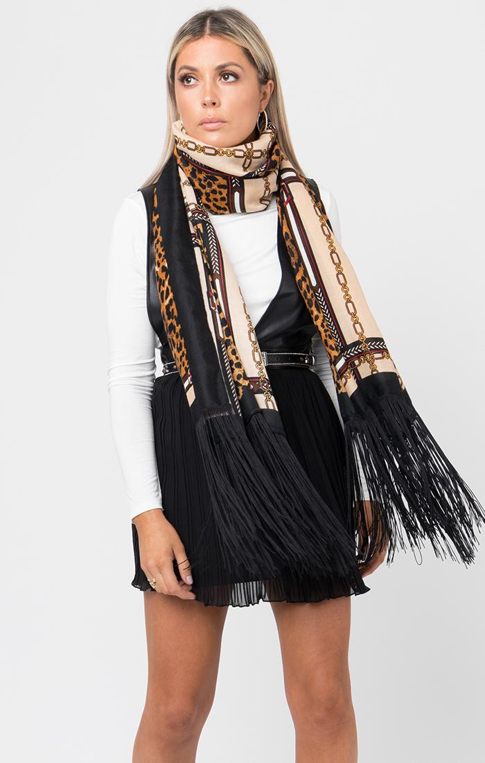 Annika Scarf - Black/Camel Leopard