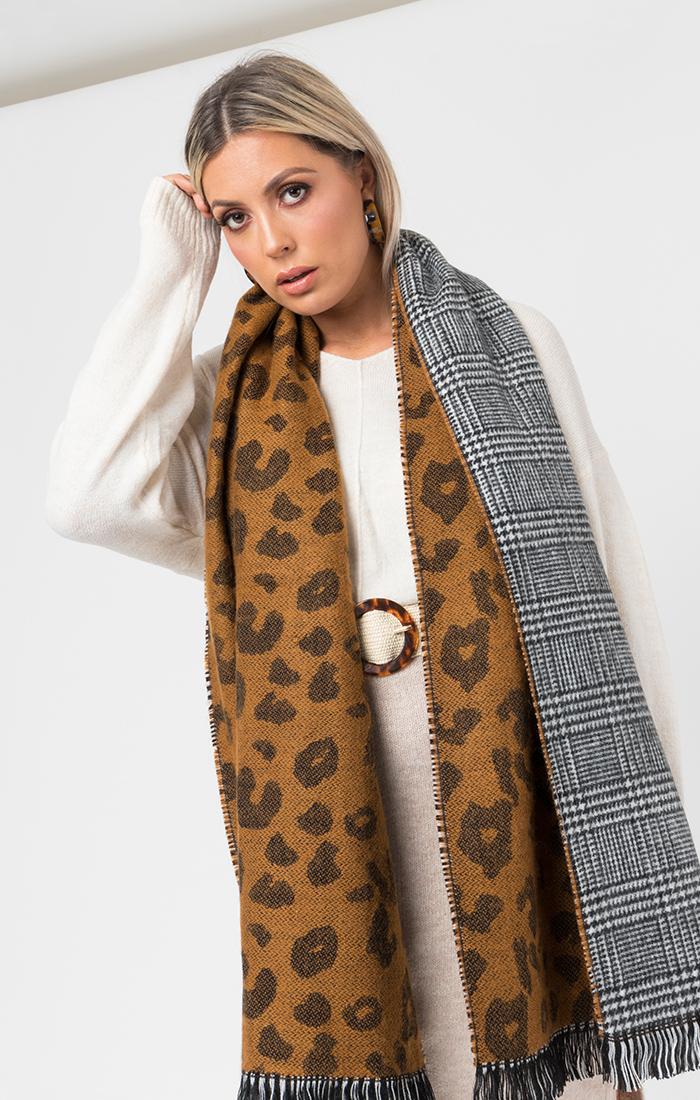 Briar Scarf - Black/Leopard