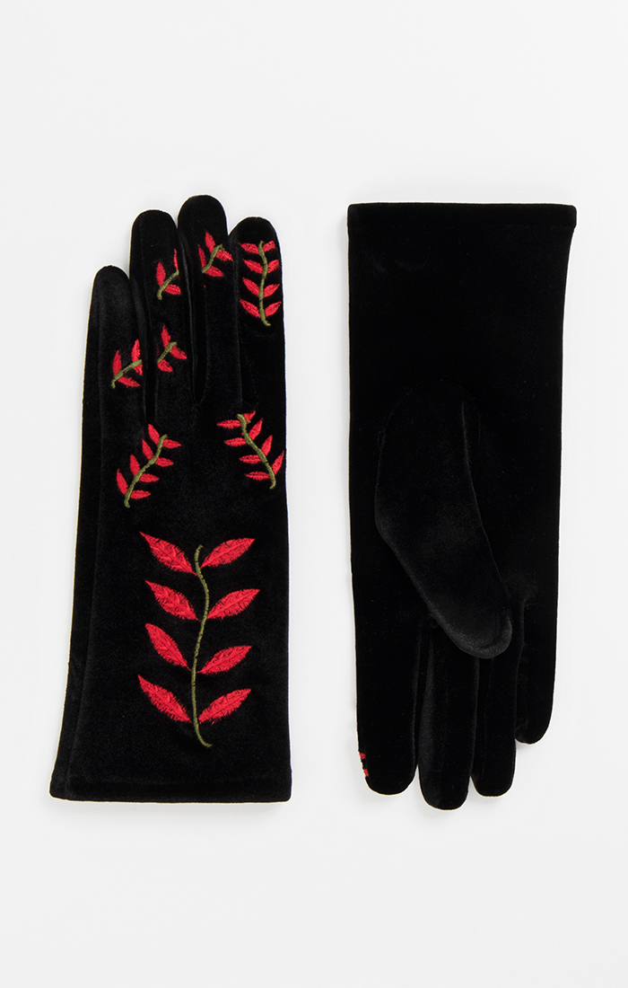 Hattie Glove - Black/Red