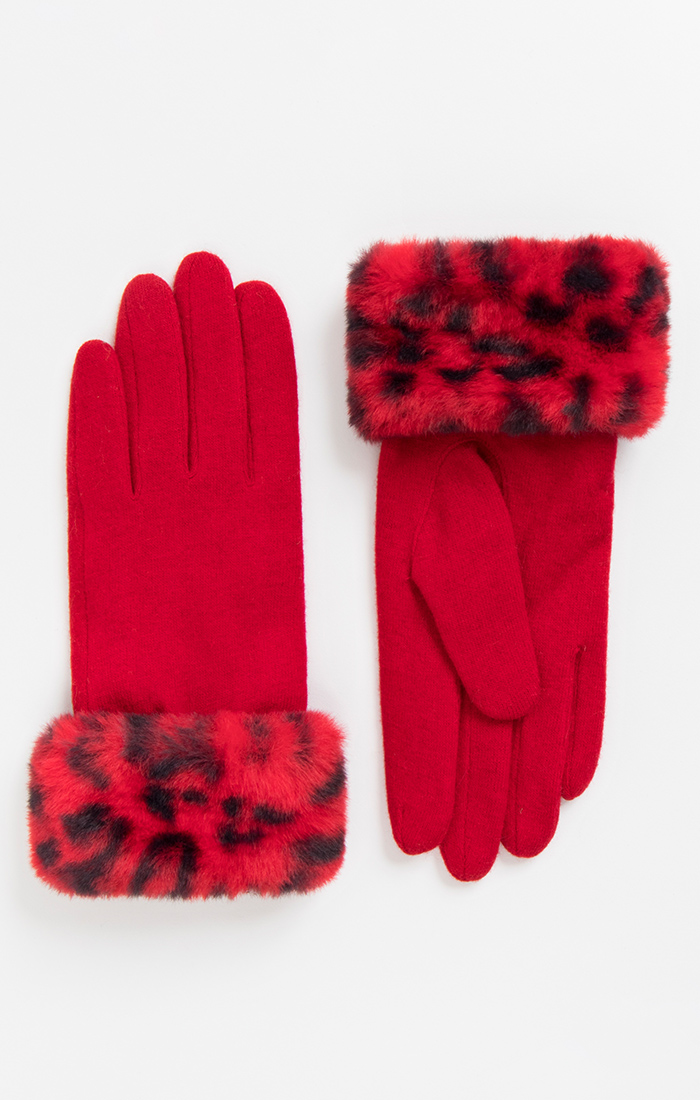 Red and Black Faux Fur Cuff Gloves