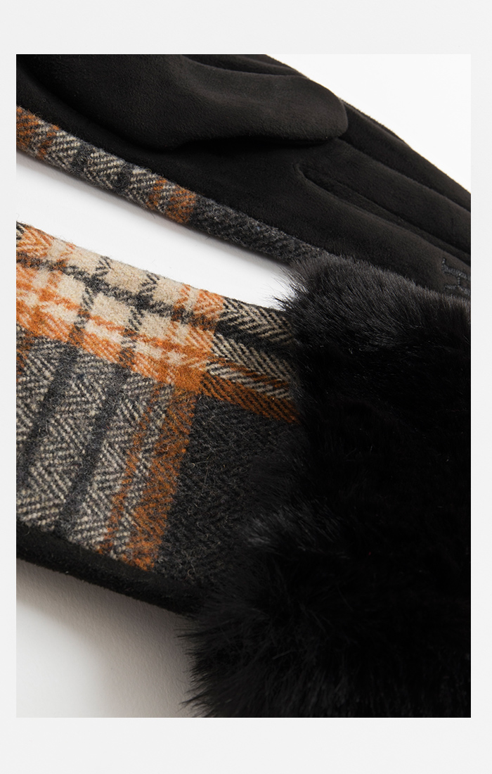 Ladies Tartan Fur Cuffed Gloves Black/White/Orange