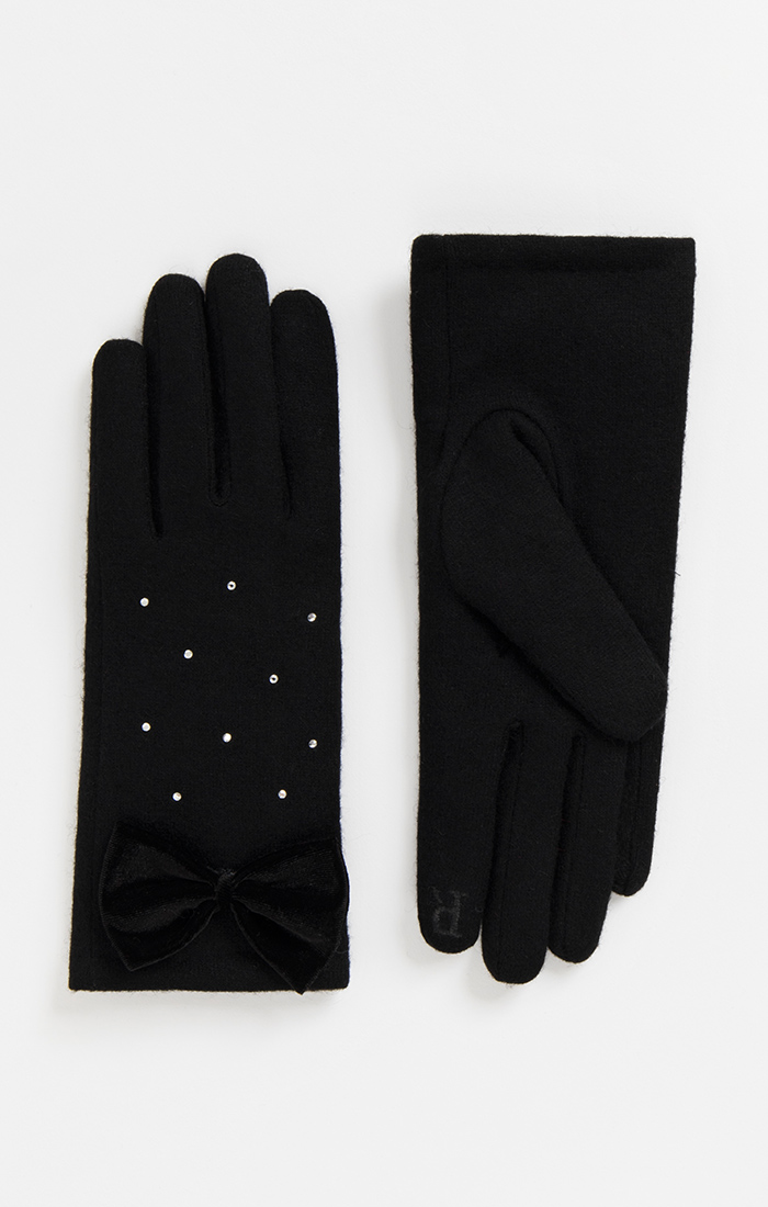 Rhinestone Black Wool Gloves with Bow