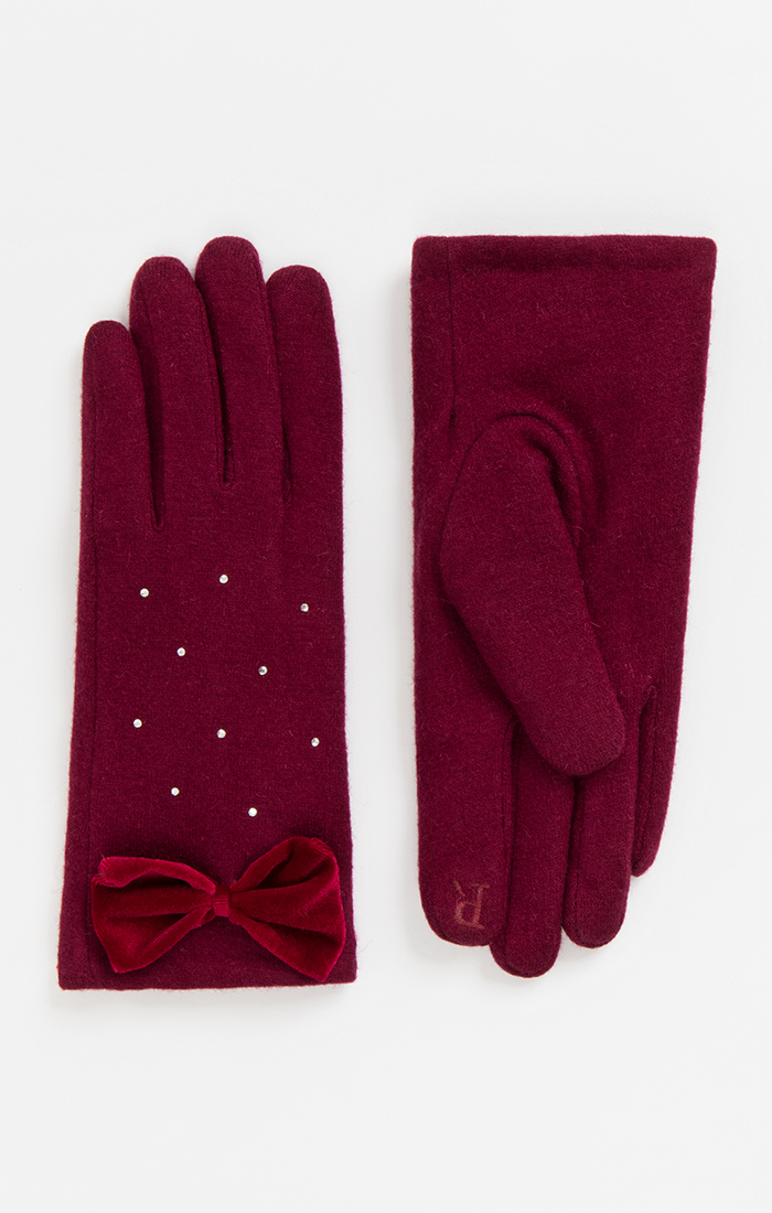 Rhinestone Red Wool Gloves with Bow