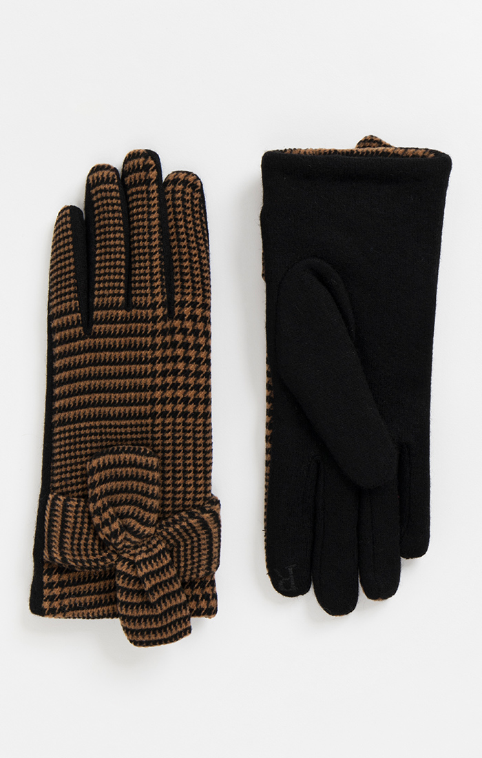 Brown and Black Check Gloves
